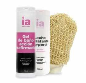 Gel de baño reafirmante + Leche corporal reafirmante Interapothek + Regalo guante de crin