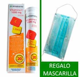 Arkovital Vitamina C 1000 mg + Zinc + Regalo Mascarilla Quirúrgica